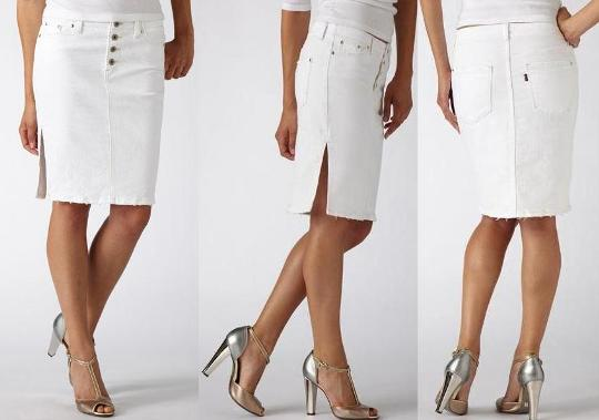 "Materialology » LEVIS WHITE DENIM ""PENCIL SKIRT"" is spring perfect ..."