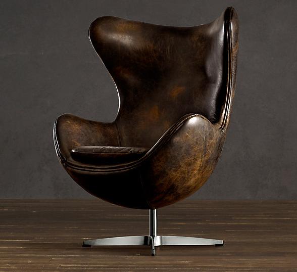 Amazing 1950s Hand Distressed Leather Copenhagen Chair