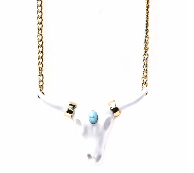 WILDFOX get into jewels & we like this Steer Skull necklace