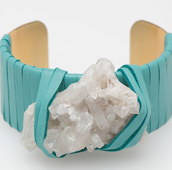 HEY MURPHY Crystal Teal Leather Cuff