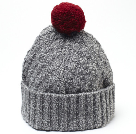 Well Done POM POM Basket Weave Cable Knit Beanie