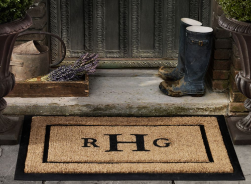 Personalized coir bristle door mat from Restoration Hardware