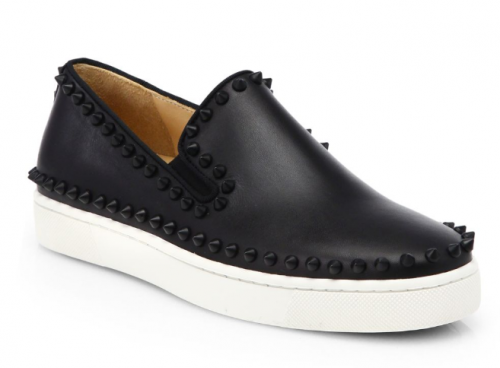 Ladies I dont mind a lil edge to my casual looks and these CHRISTIAN  LOUBOUTIN Pik Boat spiked leather slip on kicks are just the perfect amount  of flair ... 5597a0cb1