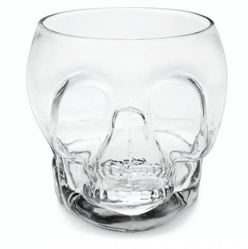 Mouth blown glass skull punch bowl