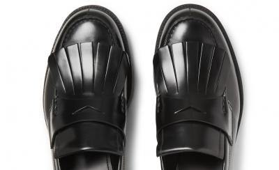 PRADA Spazzolato Leather Kiltie Loafers