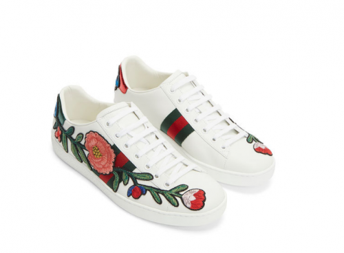GUCCI  Women's Floral Embroidered Low Top Sneakers
