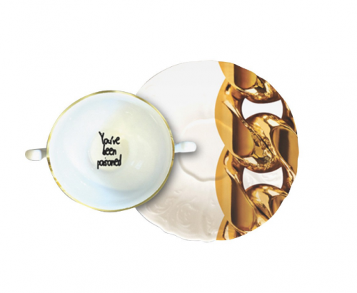 DEVALL & ALLEN - Poisoned Double Handle Cup and Saucer