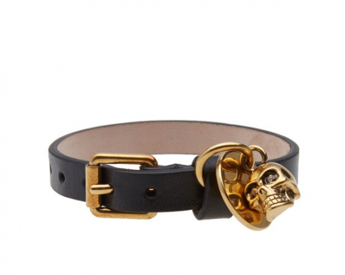 Perfect Skull Leather Bracelet from  ALEXANDER MCQUEEN