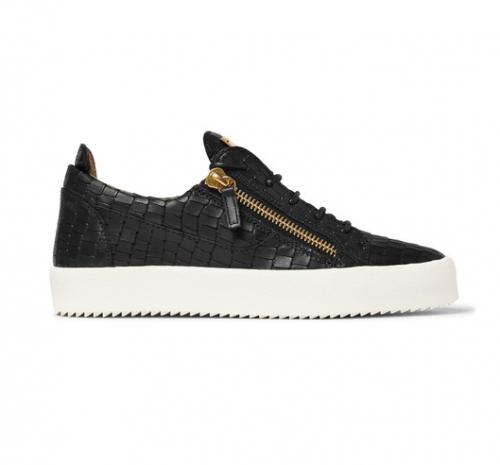 GIUSEPPE ZANOTTI Croc Effect Leather Sneakers