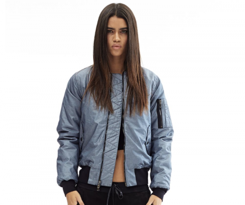 HUDSON JEANS Gene Puffy Bomber in Dusted Silver