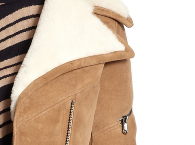 CARVEN Suede Shearling Lined Moto Jacket