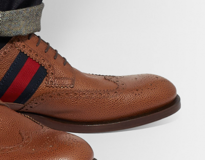 GUCCI Webbing Trimmed Pebble Grain Leather Wingtip Brogues