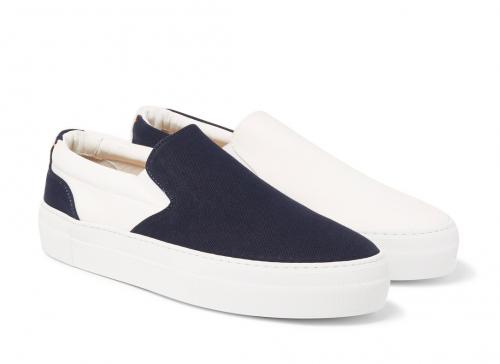 GREATS BRAND WOOSTER + LARDINI Two-Tone Slip-On Sneakers