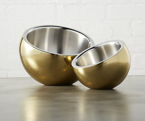 Stainless steel gold snack bowls from CB2