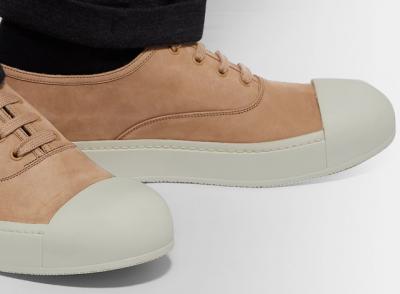 PRADA Rubber Cap Toe Nubuck Sneakers