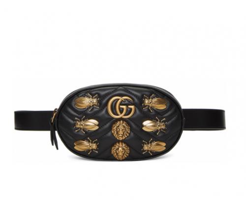GUCCI Black GG Marmont Animal Studs Belt Bag