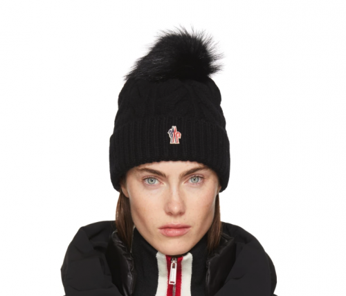 Materialology » MONCLER Grenoble Black Cashmere   Fur Pom Pom Beanie be3ff49bc984