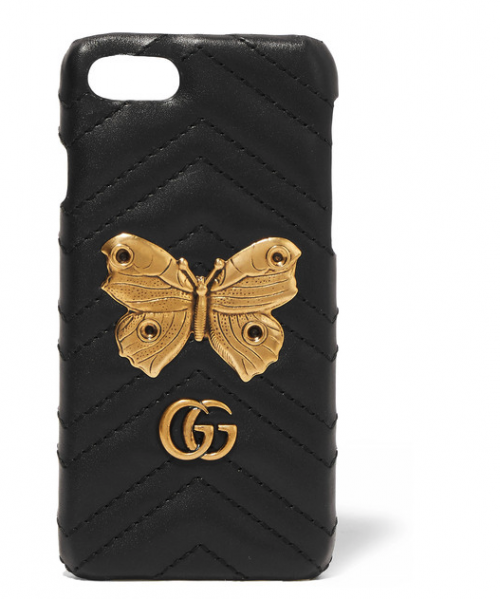 GUCCI Embellished quilted leather iPhone 7 case