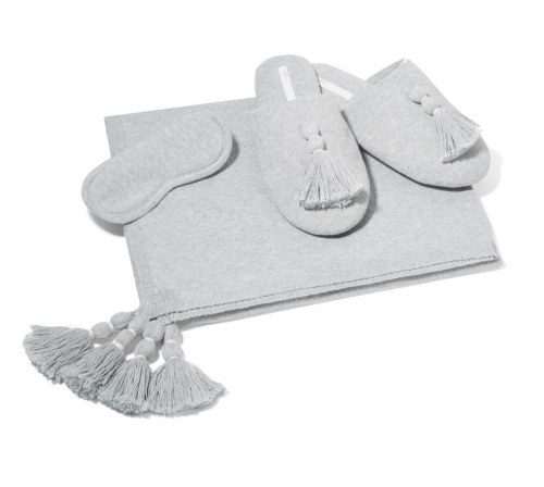 SKIN Cotton wrap, eye mask and slipper set