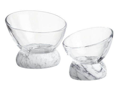 CB2 exclusive Askew glass and marble bowls