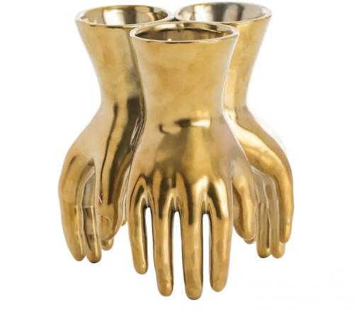 ARTERIORS Piedmont Gold Porcelain Hands Vase