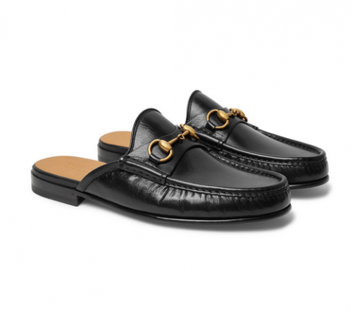GUCCI Open Roos Horsebit Backless Loafers