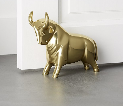 Pascal the Bull gold doorstop and bookend