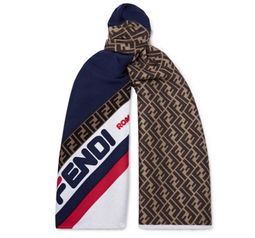FENDI x FILA Logo Jacquard Wool And Silk Blend Scarf