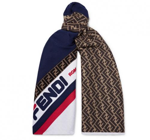 FENDI x FILA Logo Jacquard Wool And Silk Blend Scarf