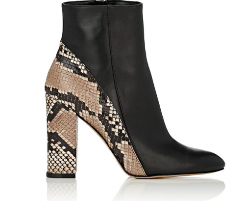 BARNEYS NEW YORK Leather & Snakeskin Ankle Boots