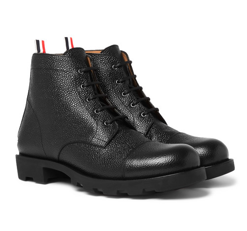 THOM BROWNE Pebble Grain Leather Cap Toe Boots