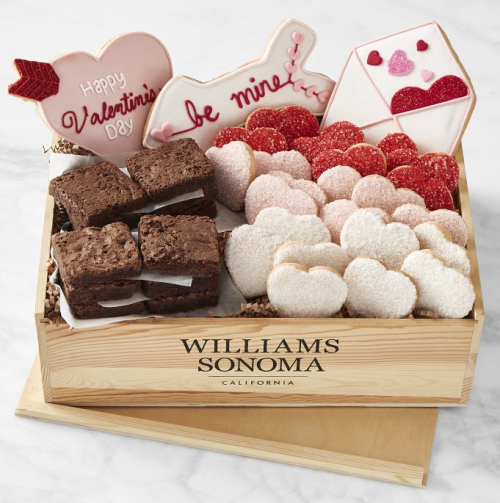 WILLIAMS SONOMA Valentine's Day Cookie & Brownie Gift Crate