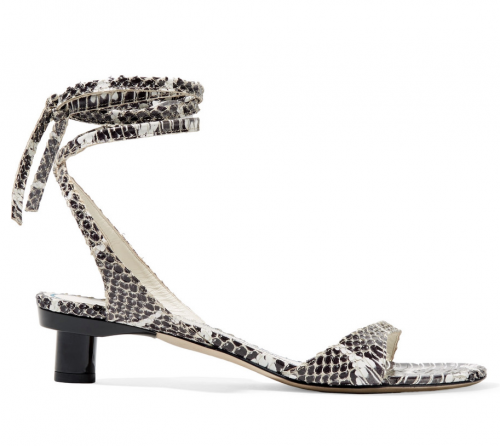 TIBI Scott snake effect leather sandals