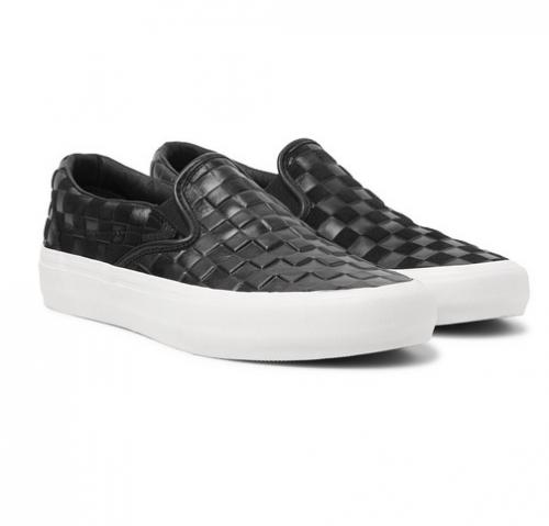 VANS + Engineered Garments Checkerboard Leather & Suede Slip-On Sneakers